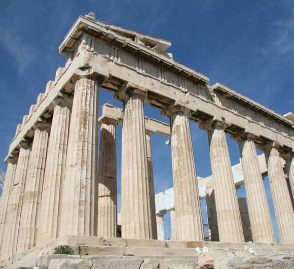 ancient white stone pillar remains
