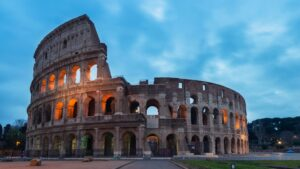 The colosseum lit at night