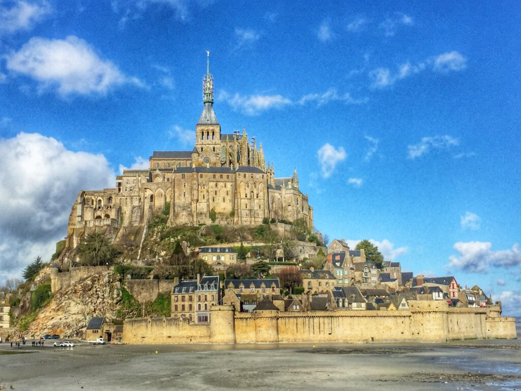 Mont st michel with a blue sky
