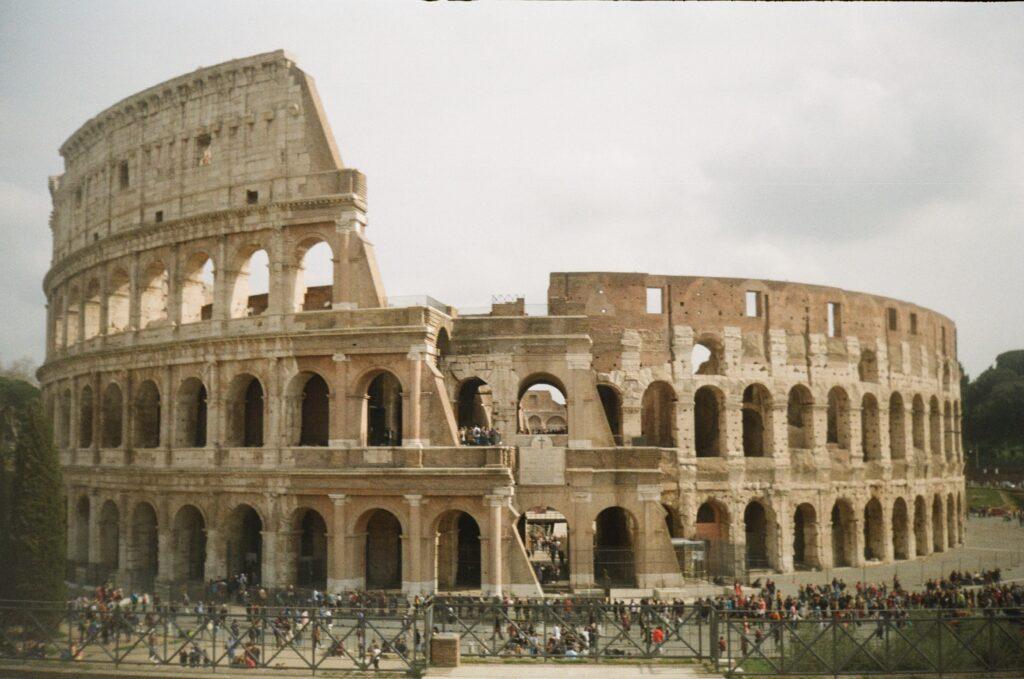 View of the impressive colosseum in rome