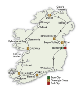 Detailed map of route planned for trip of Ireland