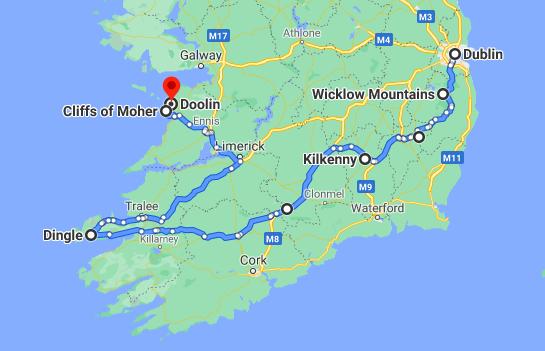 self drive tour of Ireland map