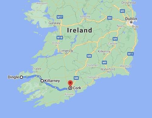 Map route of southwest Ireland tour